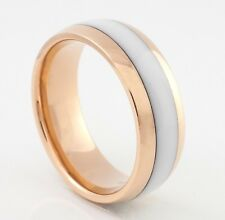 Tungsten Ring Wedding Band Comfort Fit 8MM White Design Rose Gold Size 6 to 14