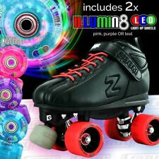 RED Zoom Speed Skate Quad Roller Skates with 2 BRIGHT LED Glitter wheels COMBO!