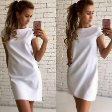 Women Polyester Material Solid Pattern Short Sleeve Above Knee Mini Dress