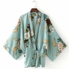 Women Vintage Style Polyester Fabric Long Sleeve V Neck Floral Printed Cardigan
