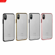 Gebei Chrome Bumper Frame CLEAR Back Hard Case Cover For Apple iPhone X 7 8/Plus