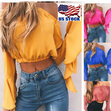 US Women Off Shoulder Long Bell-sleeve Crop Tops Casual Party Blouse Top T Shirt