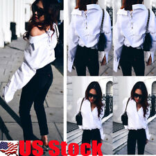 US Women's Lace Up Deep V Neck T Shirt Tops Casual Long Sleeve Blouse Top White