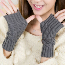 Fingerless Gloves Mitten Hand Warmer Winter Gloves Crochet Knitting Women Arm J