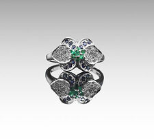 925 Sterling Silver Ring with Round Cut Blue Sapphire & Green Emerald Gemstone.