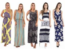NEW WOMENS PRINTED BALLOON TOGA RACER MUSCLE BACK JERSEY LONG SUMMER MAXI DRESS