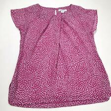 Liz Claiborne Womens Top Size Small Short Sleeve Pink White Blouse Career 0919