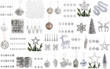 Silver Collection Christmas Decorations Baubles Stars Cones Hearts Snowflakes