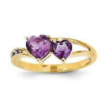 14k Yellow Gold Diamond & Amethyst Double Heart Gemstone Ring. Carat Wt- 0.92ct