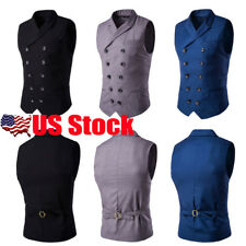 Mens Double-Breasted Formal Business Slim Fit Chain Dress Vest Suit Waistcoat US