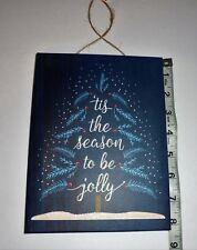 Christmas Hanging Sign For Wall Decor Door Joy Jolly Santa Snow Glitter Over 8""