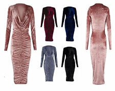 Women's party Crushed Velour Velvet Cowl Neck Long Front Ruched Midi Dress gift