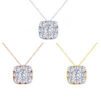 1/4 Ct Round Cut Natural Diamond Cluster Pendant 14K Gold W/Chain