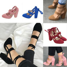 Womens Strap Ankle Shoes Ladies Pointed Toe Lace Up High Heel Pumps Shoes Size