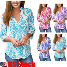 Womens Ladies V neck Floral Printed Top Blouse 3/4 Long Sleeve Casual T Shirt US