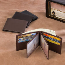 Mens Imported Cow Leather RFID Blocking Bifold Wallets Money Clip Purse