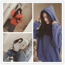 Autumn Women Fashion Loose Letter Print Thick Long Sleeve Hooded Pullover LOT -P