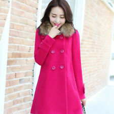 UK Women Winter/Autumn Casual Warm Fur Collar Coat Trench Woolen Jackets Outwear