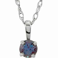 YOUTH 14K SOLID GOLD OR 925 SILVER 4-PRONG SOLITAIRE BIRTHSTONE PENDANT NECKLACE