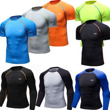 Mens Compression Tops Running Basketball Base Layers Athletic Workout T-shirts