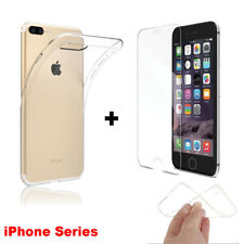 New Soft Clear Silicone Gel TPU Case + Tempered Glass For iPhone 7 7 Plus 6 6S+