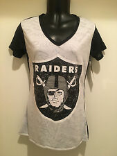 Oakland RAIDERS Ladies Cameo Burnout T-shirt -NFL Licensed by Concepts Sport