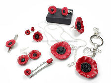 poppy flower  glittery remembrance fimo stunning mum dad sister son gran  boxed