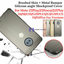 Brushed + Metal Bumper for MOTO X4 G5 G5S PLUS Z2 Play E4 Plus Shockproof Cover