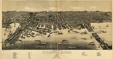Poster Print Antique Old Maps 1887 Perspective Map Duluth Minnesota