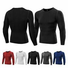 US Mens Gym Compression Long Sleeve Under Skin Base Layer Tight Tops T Shirt Hot