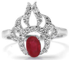 925 Sterling Silver Ring with Red Ruby Natural Gemstone Oval Shaped Anniversary
