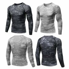 Mens Long Sleeve Compression Tight Top Tee Shirts Under Skin Sport Gear GYM Wear