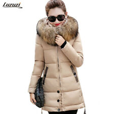 Fur Winter Cotton Padded Women Jacket Coat Parka Warm Hooded Collar Down Faux