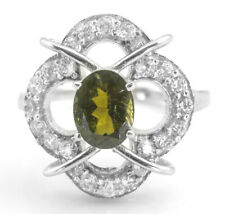 925 Sterling Silver Ring with Natural Green Tourmaline Size 5, 6, 7, 8, 9, 10