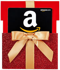 AMAZON Gift Card in a Red Gift Box 15$ 20$ 25$ amazon.com