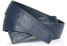 Ostrich Navy Blue Black H Belt Reversible Leather Strap without Buckle 32mm