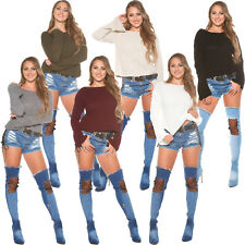 Sweater Boxy Cut Knitted Jumper with Trumpet Sleeves Sexy S 32 34 36