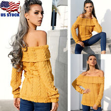 Women Casual Cable Knit Off Shoulder Sweater Jumper Pullover Knitted Tops Blouse