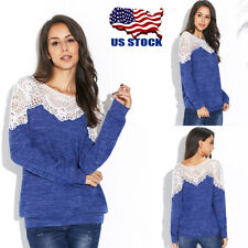 Womens Lace Long Sleeve Pullover Tops Loose Casual T-Shirt Jumper Top Blouse USA