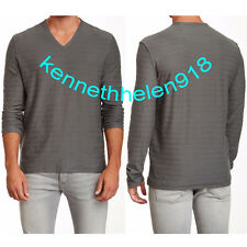 JOHN VARVATOS STAR USA MENS V NECK LONG SLEEVE TEE CEMENT GREY SIZE LARGE