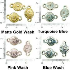 10pcs Antique Silver Tone Patina Wash Round Two Eyelet Daisy Flower Connector 2