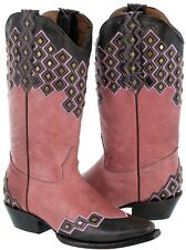 Womens Pink Leather Stitched Studded Cowboy Western Cowgirl Boots Ranch