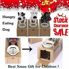 Puppy Hungry Eating Dog Coin Bank Money Saving Box Piggy Bank Kids Gifts YP
