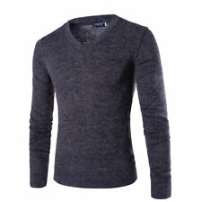 Men's V Neck Woolen Cashmere Jumper Sweater Sweatshirt Knitted Pullover Casual