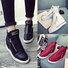 Women Leather High Top Hidden Wedge Heel Casual Flat Sneakers Shoes Casual Shoes