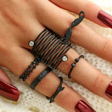BU_ 6Pcs Mustache Bow Arrow Stacking Knuckle Rings Women Finger Ring Set Gift Be