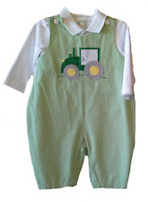 Baby Boys Green Gingham Tractor Applique Overall Set by Zu (Petit Ami)  NWT
