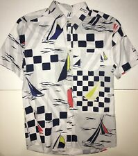Urban Outfitters UO Yacht Printed White Button Down Front Pocket Shirt Mens NEW!