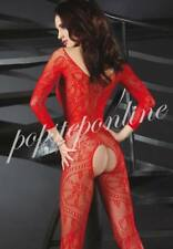 Hot Fishnet Open Crotch Body stocking Sleeves Bodysuit Lingerie Floral Clubwear