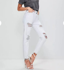 MISSGUIDED white high rise ripped ankle grazer mom jeans (M16/9)